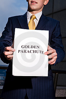 Manager Holding Document Golden Parachute Royalty Free Stock Photo - Image: 6884215