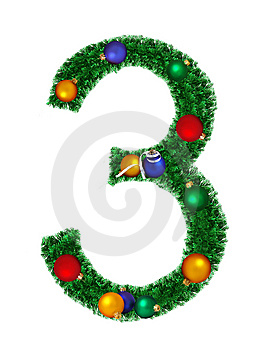 Numeral From Christmas Decoration - 3 Royalty Free Stock Photography - Image: 6890977