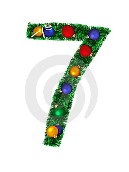 Numeral From Christmas Decoration - 7 Stock Photo - Image: 6891150