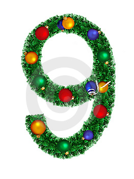 Numeral From Christmas Decoration - 9 Royalty Free Stock Image - Image: 6891266
