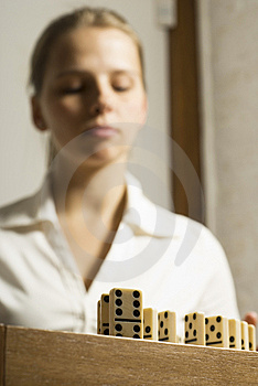 Woman With Dominos Royalty Free Stock Photo - Image: 6896245