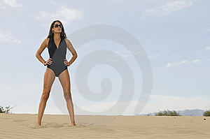 Young Sexy Woman In The Sand Near The Sea Stock Image - Image: 6896481