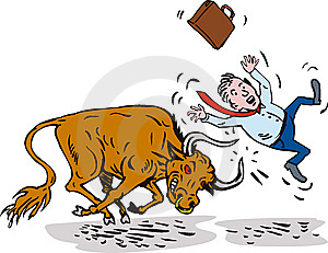 Bull Attacking Businessman Stock Photography - Image: 6897142