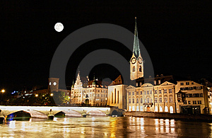 The Night View Of Major Landmarks In Zurich Stock Image - Image: 6898441