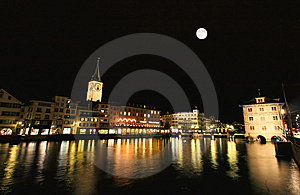 The Night View Of Major Landmarks In Zurich Royalty Free Stock Photography - Image: 6898447