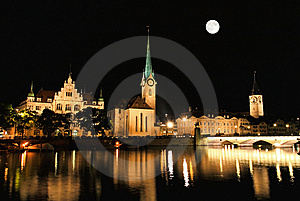 The Night View Of Major Landmarks In Zurich Royalty Free Stock Image - Image: 6898526