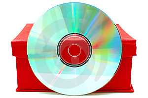 Compact-disk (CD Or DVD) And Red Cardboard Box. Royalty Free Stock Image - Image: 6899176
