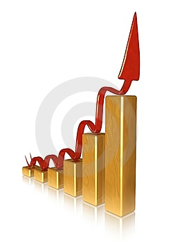 Golden Chart With Red Pointer Stock Photos - Image: 6899753