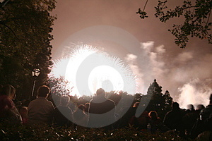 People Watching A Firework Royalty Free Stock Photo - Image: 697665