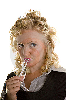 Curly Blonde Pearls In Mouth Looking Up Stock Photos - Image: 6903143