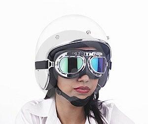 Asian Biker Girl Wearing A Helmet Stock Photo - Image: 6903190