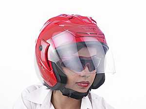 Asian Biker Girl Wearing A Helmet Royalty Free Stock Image - Image: 6903196
