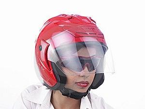 Asian Biker Girl Wearing A Helmet Royalty Free Stock Image - Image: 6903196