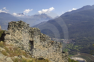 Castle Ruins In Italy, Aosta Royalty Free Stock Photo - Image: 6904425