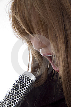 Girl Singing Into Karaoke Royalty Free Stock Photos - Image: 6905138