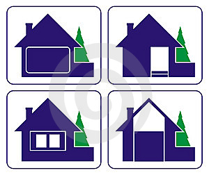 Small House With A Fur-tree (logo) Royalty Free Stock Image - Image: 6908186