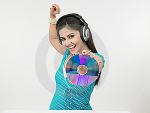 Woman With Headphones Royalty Free Stock Photos - Image: 6910778