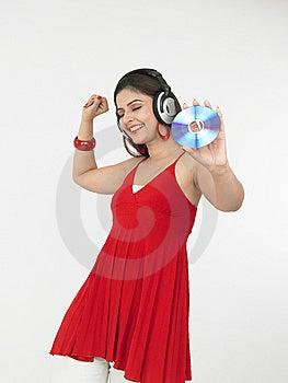 享受女性音乐 免版税库存照片 - 图片: 6911388