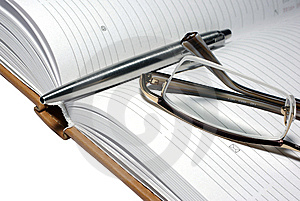 Steel Pen, Glasses And Agenda Organizer. Stock Photography - Image: 6912432