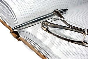 Steel Pen, Glasses And Agenda Organizer. Stock Photography - Image: 6912432