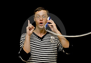 Young Man Talk On The Phone Over Black Stock Images - Image: 6913344