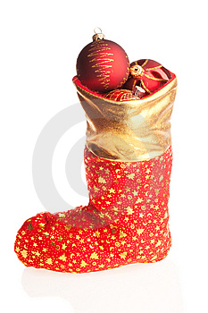 Christmas Boot With Red Balls Inside Royalty Free Stock Photos - Image: 6913848