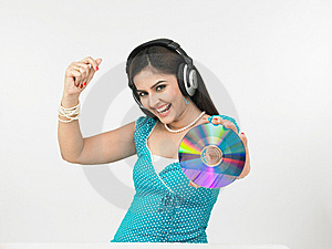 Girl Grooving To The Music Royalty Free Stock Photography - Image: 6913947