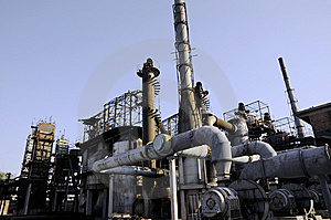 Chemical Factory With Tubes And The Funnels Royalty Free Stock Image - Image: 6914456