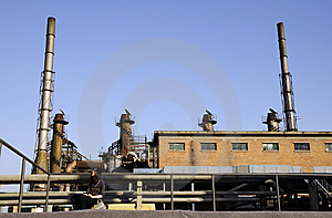 Chemical Factory With Buildings And The Funnels Royalty Free Stock Images - Image: 6914489