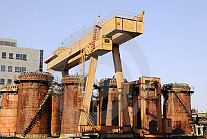 Chemical Factory With Crane And Oil Tanks Stock Photos - Image: 6914543