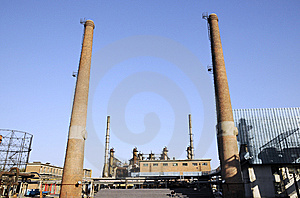 Chemical Factory With Funnels And Iron Tubes Stock Photo - Image: 6914600