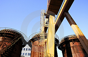 Chemical Factory With Crane And Oil Tanks Royalty Free Stock Image - Image: 6914816