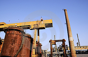 Chemical Factory With Crane And Oil Tanks Stock Image - Image: 6914861