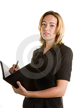 Blonde In Black Shirt Writing In Notebook Royalty Free Stock Photography - Image: 6915117