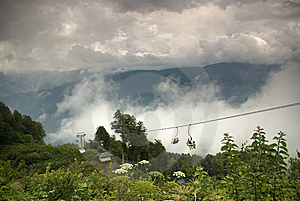 Ropeway In Krasnaya Polyana Royalty Free Stock Photography - Image: 6916297