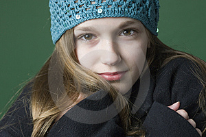 Teen Girl In A Hat And Coat Royalty Free Stock Photo - Image: 6920065