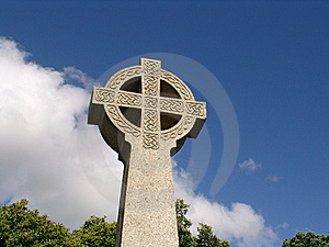 Ancient Celtic Cross Against Sky In Wales Royalty Free Stock Images - Image: 6922839