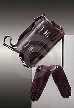 Brown handbag and gloves Free Stock Photography