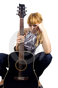 Sad Girl With Guitar Royalty Free Stock Photos - Image: 6981308