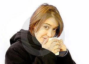 Woman With Mug Free Stock Image