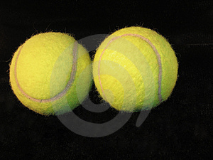 Tennis Balls  On Black Free Stock Photography