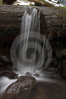 Water running off of log. Stock Image
