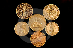 Old English Coins Royalty Free Stock Image