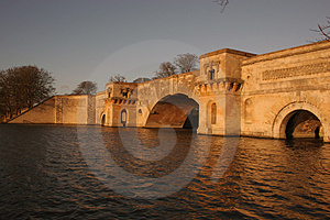 Bridge Over The Lake At Dusk Stock Photography