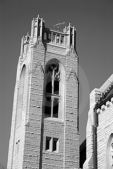Glockenturm in Schwarzem u. in weißem Lizenzfreies Stockbild