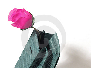 Gift Bag And Rose Stock Photography