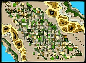Birds-eye-view Map Stock Image - Image: 7010991