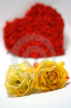 Yellow Roses Against Red Heart On Background Royalty Free Stock Images - Image: 7011859