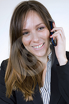 Young Pretty Woman With Cellphone And Big Smile Stock Photos - Image: 7013243