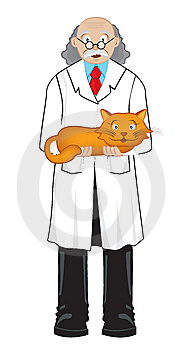 Scientist With Cat Stock Photo - Image: 7017240